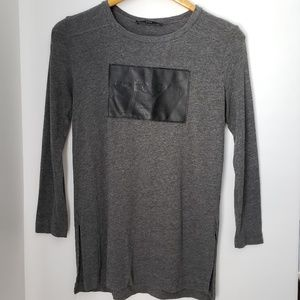 Zara Grey Top with Leather Patch